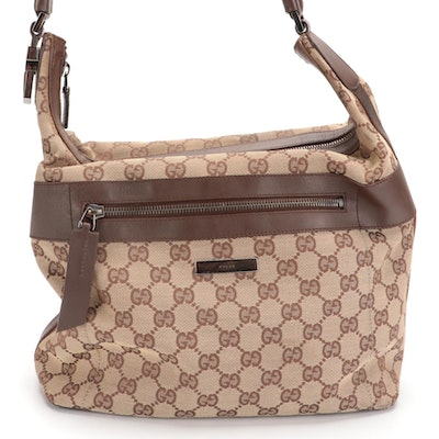 Gucci Hobo Bag in GG Canvas and Brown Leather