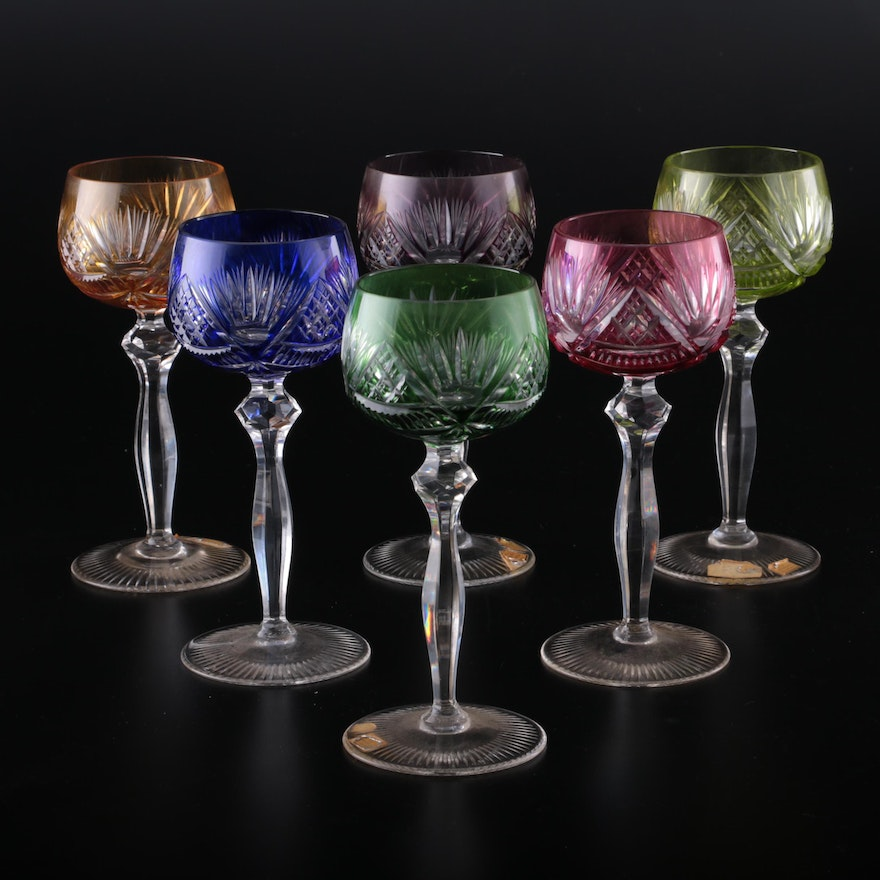 German Colored Cut to Clear Crystal Hock Wine Glasses, Mid to Late 20th Century