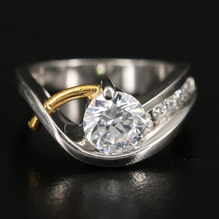 Moderna Platinum and 24K Diamond Semi-Mount Ring with Cubic Zirconia Center