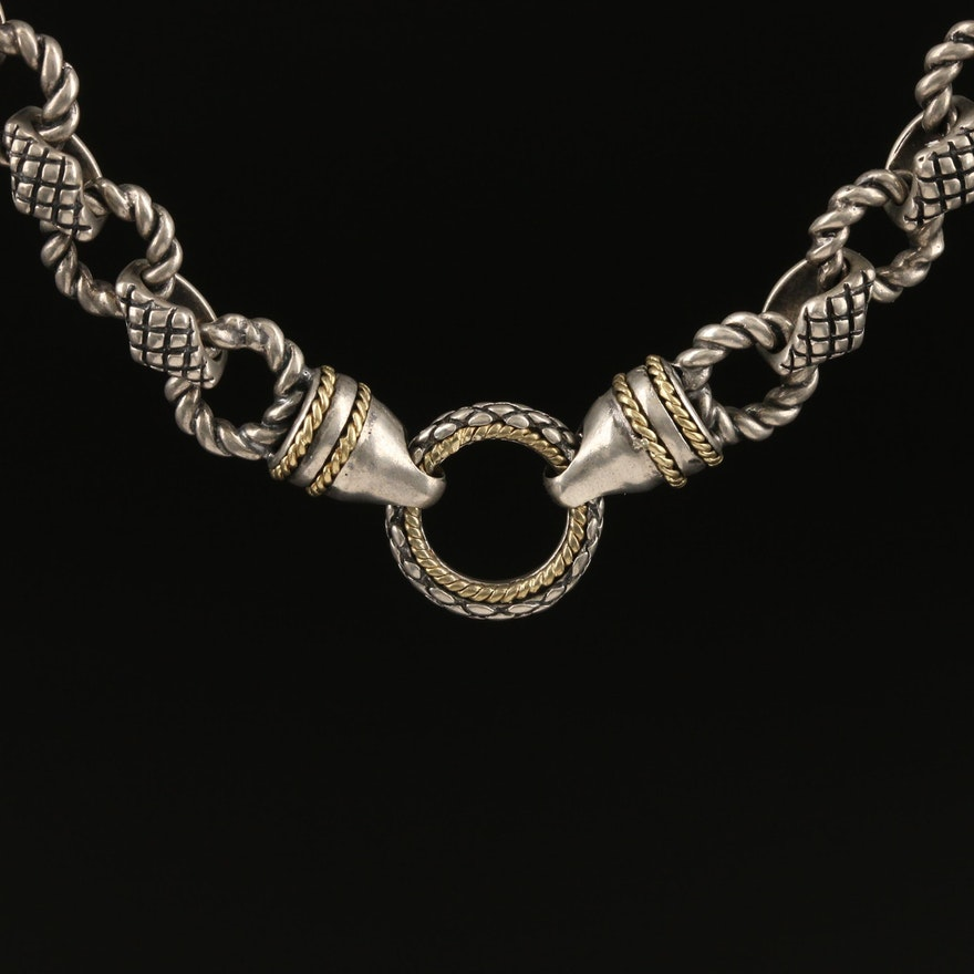 Andrea Candela Sterling Silver Necklace with Twisted Links