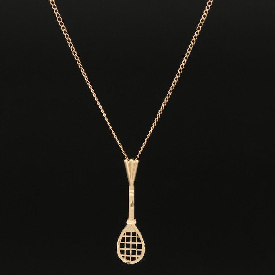 14K Badminton Racquet Necklace