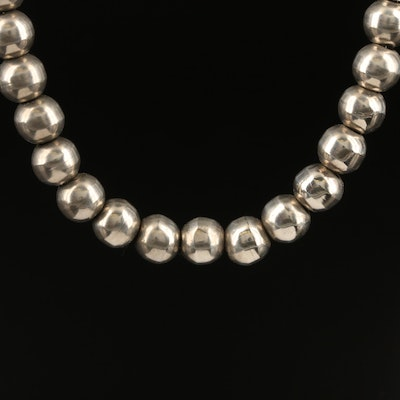 Mexican Sterling Silver Beaded Necklace