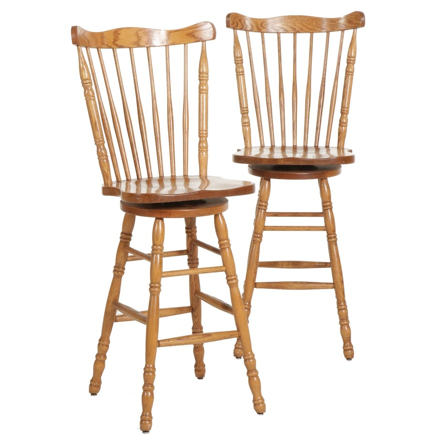 Pair of Oak Spindle-Back Barstools