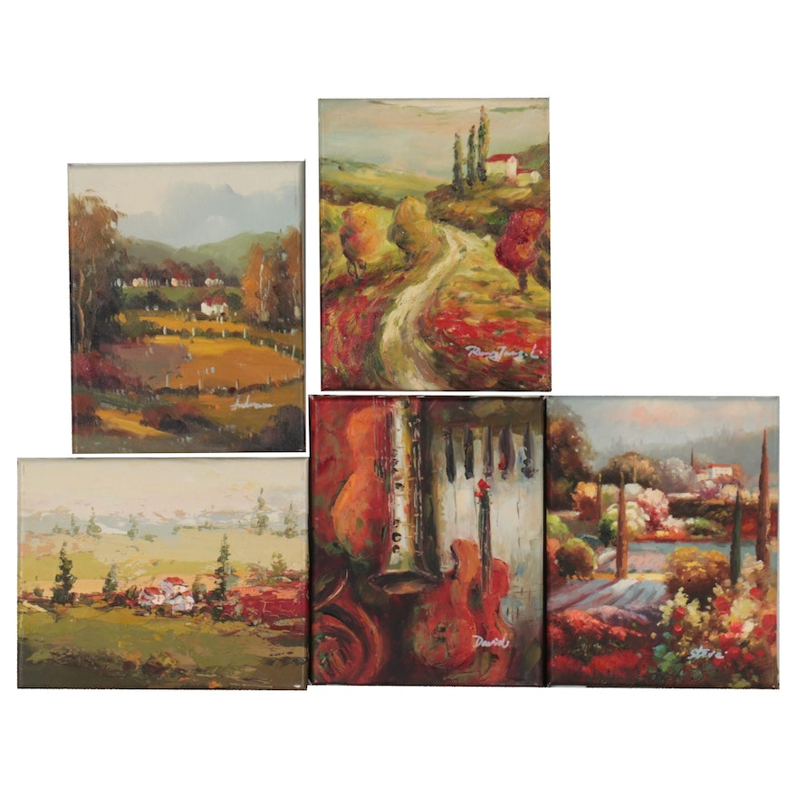 Tuscan Landscapes and Still Life Oil Paintings