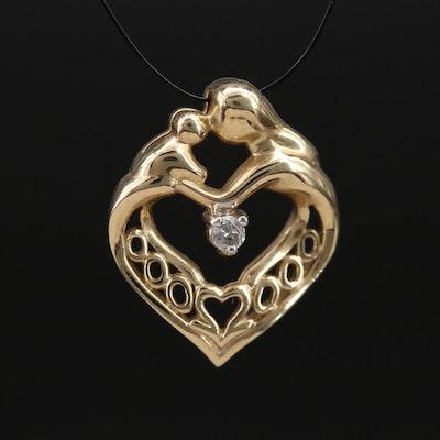 10K Diamond Mother and Child Heart Slide Pendant