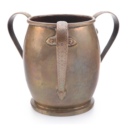 Russian Style Copper Loving Cup with Three Incised Handles