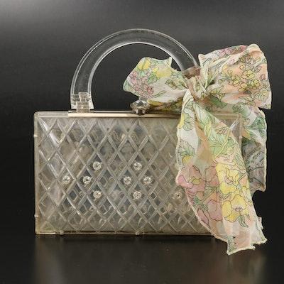Rhinestone Embellished Diamond Shaped Acrylic Handbag with Floral Scarf