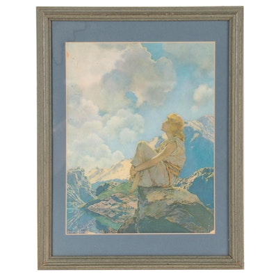 """Offset Lithograph After Maxfield Parrish """"Morning"""""""
