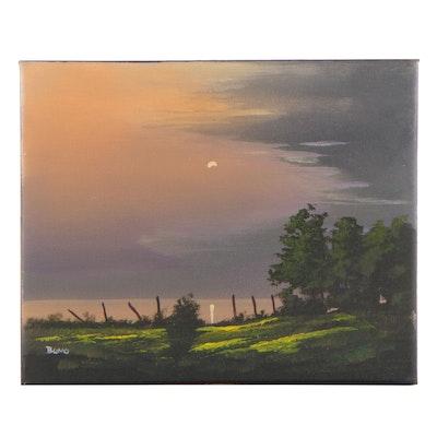 """Douglas """"Bumo"""" Johnpeer Landscape Oil Painting """"Hillside Lake"""""""