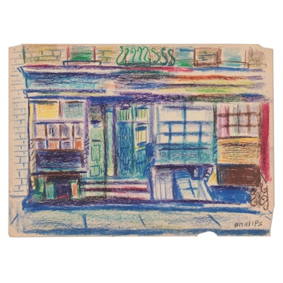 Esther Phillips Abstract Street Scene Pastel Drawing, Mid-20th Century