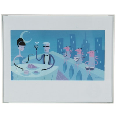 """Offset Lithograph After Josh Agle """"The Rewards of Evil"""""""