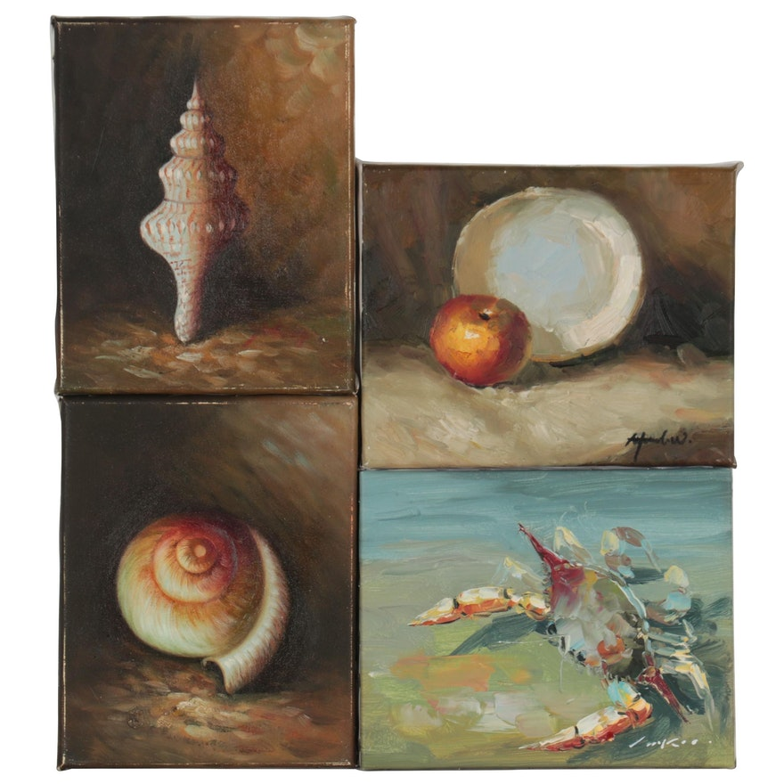 Still Life Oil Paintings of Nautical Objects and Fruit