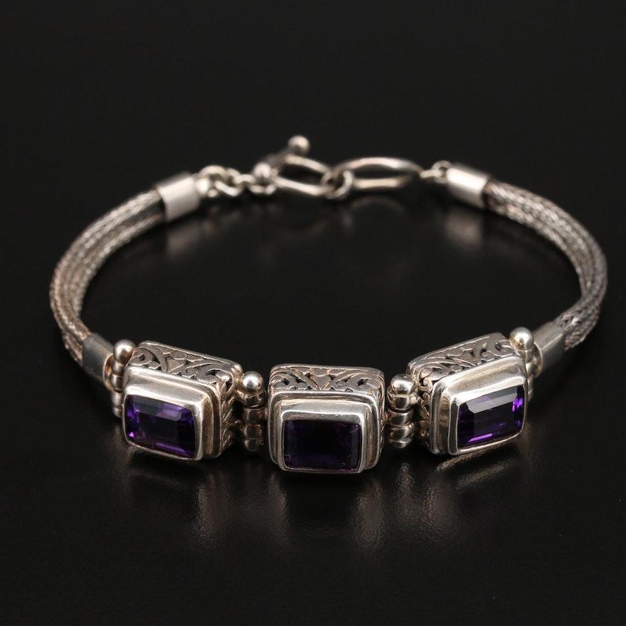 Bali Style Sterling Amethyst Bracelet
