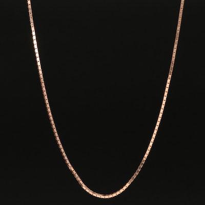 14K Rose Gold Italian Box Chain Necklace