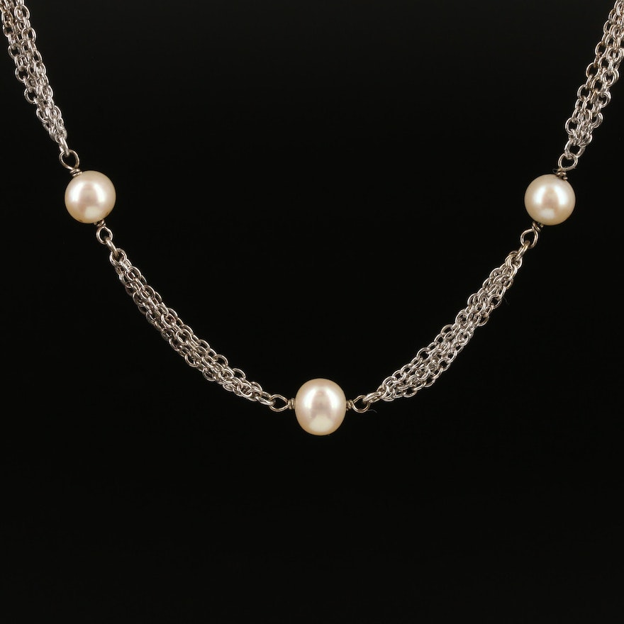 Sterling Silver Pearl Station Multichain Necklace