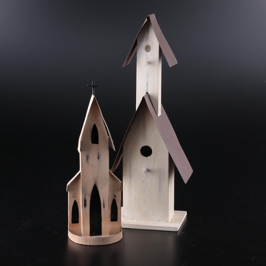 White Painted Wood and Metal Decorative Birdhouse with Church Votive holder