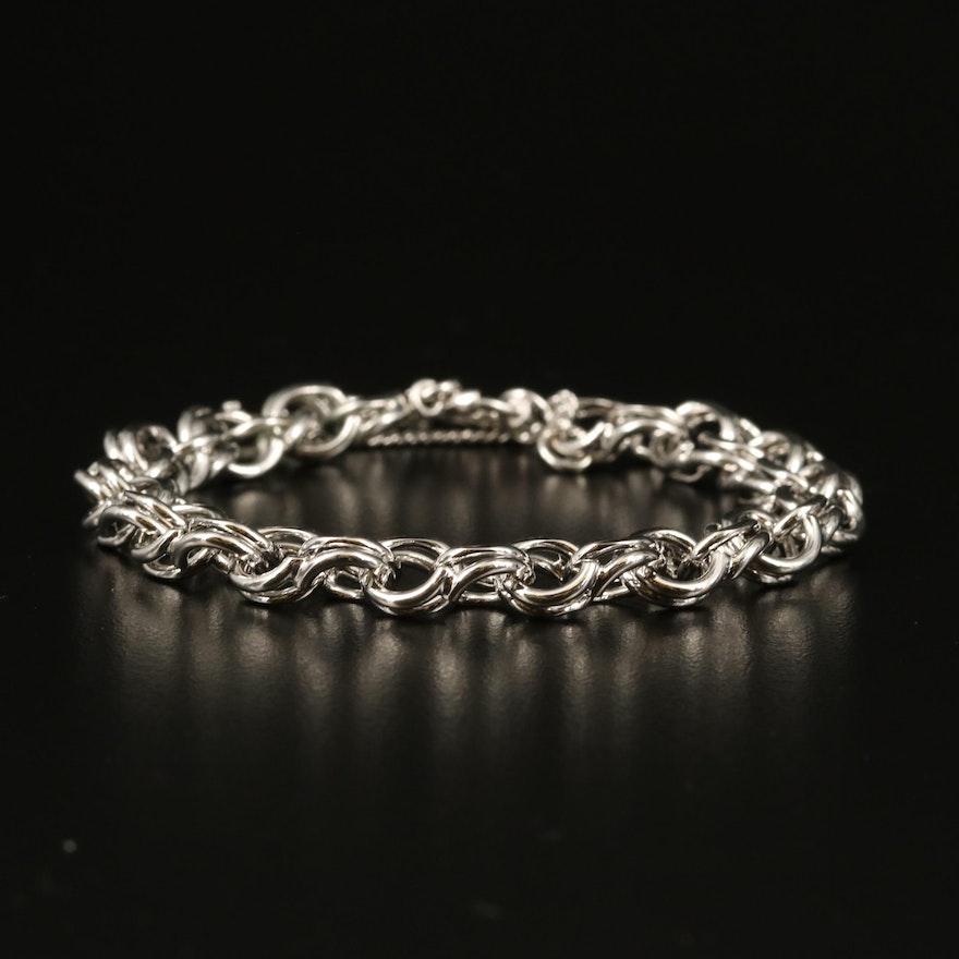 Sterling Silver Double Rolo Chain Bracelet