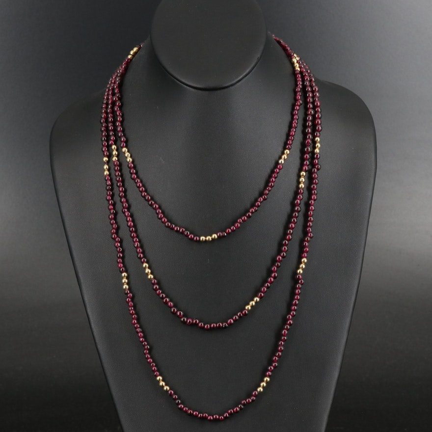 Rhodolite Garnet Beaded Rope Necklace with Sterling Accent
