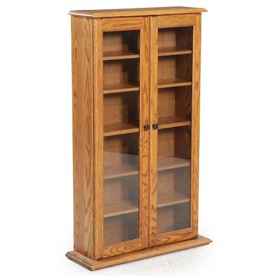 Oak and Glass Cabinet Bookcase