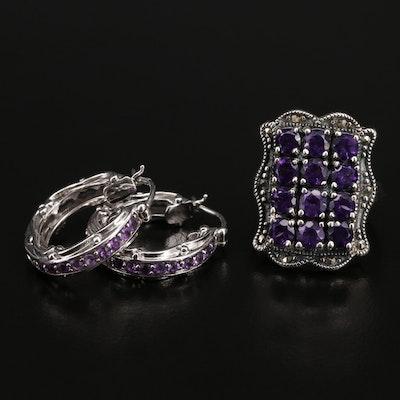 Sterling Amethyst Hoop Earrings and Scalloped Frame Ring
