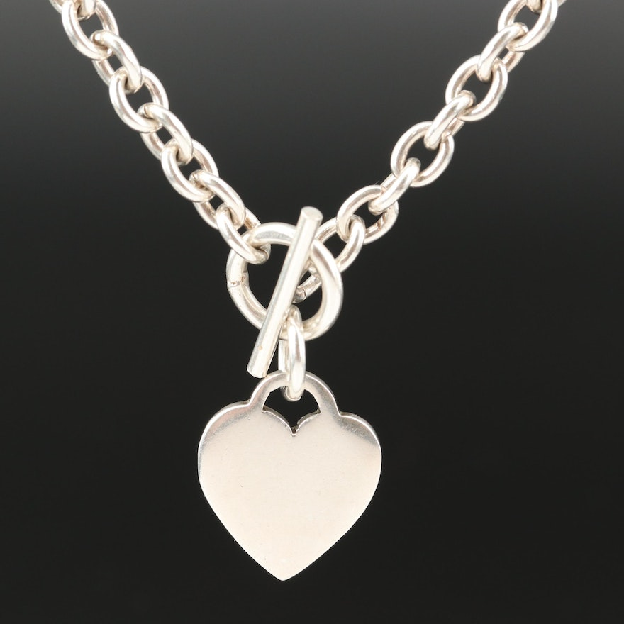 Sterling Silver Heart Tag Cable Chain Necklace