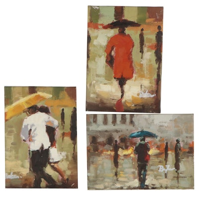 Contemporary Oil Paintings of Figures with Umbrellas