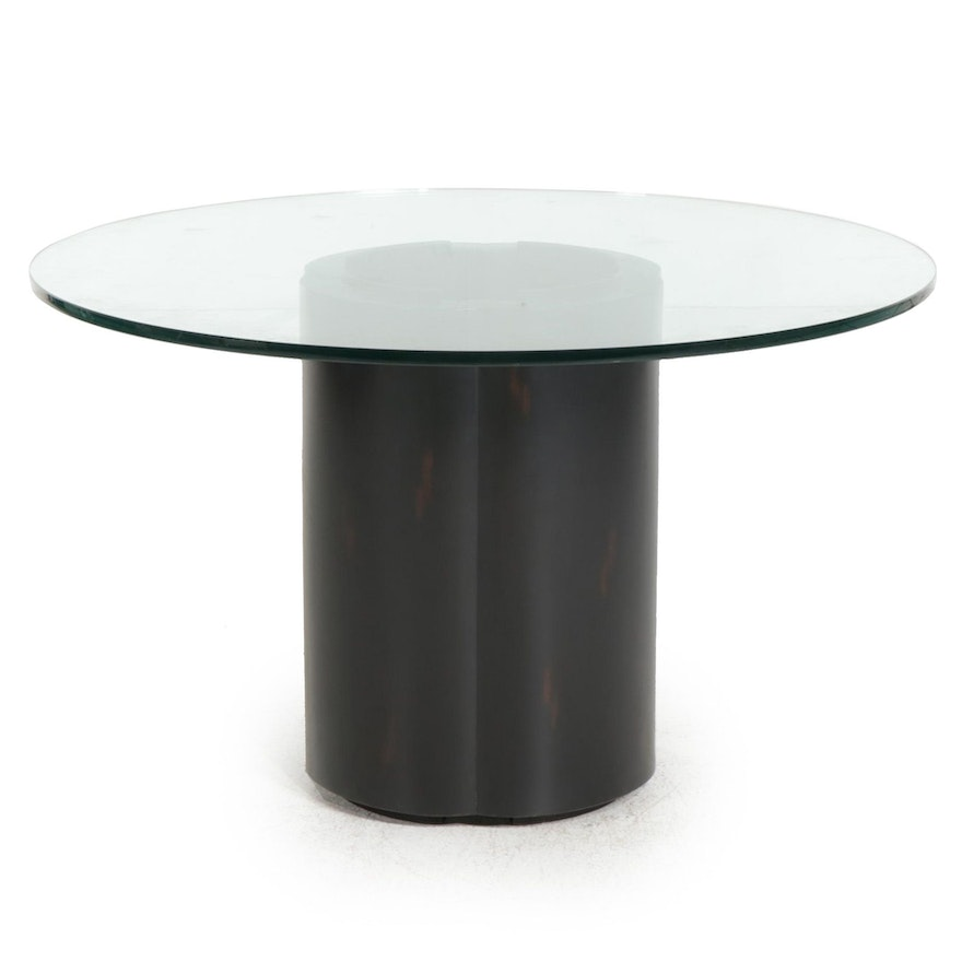 McGuire Furniture Ebonized Wood and Glass Top Dining Table, 1970s
