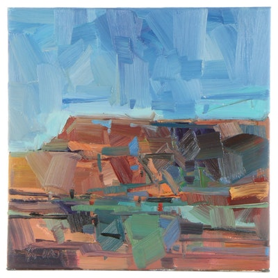 "Jose Trujillo Oil Painting ""Red Rock Canyon,"" 2021"