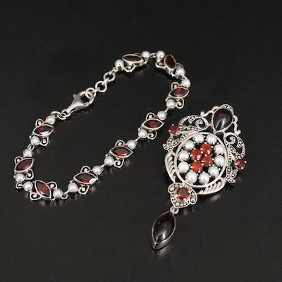 Nicky Butler Sterling Silver Pearl and Gemstone Bracelet and Converter Brooch
