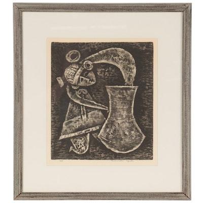 Masuichi Oguchi Abstract Figural Woodcut, Late 20th Century