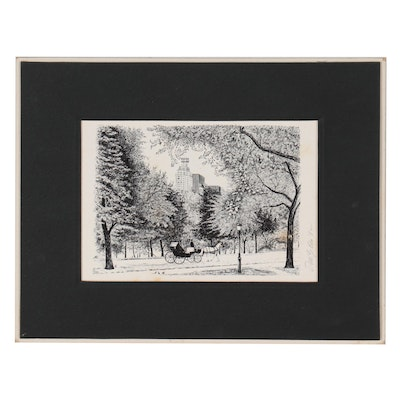 Lithograph of Carriage in Central Park, 1982