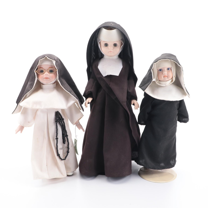 """Dynasty Collections """"Sister Mary Francis"""" and Other Nun Dolls, Late 20th Century"""