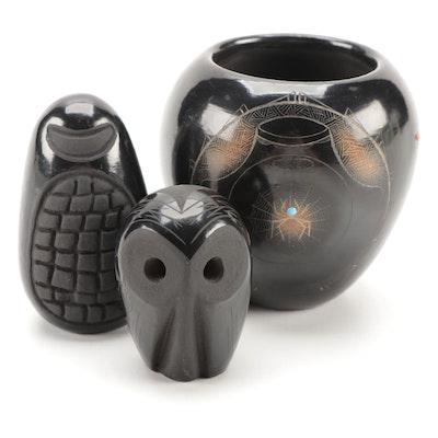 Native American Pueblo Blackware Art Pottery Vase and Figurines