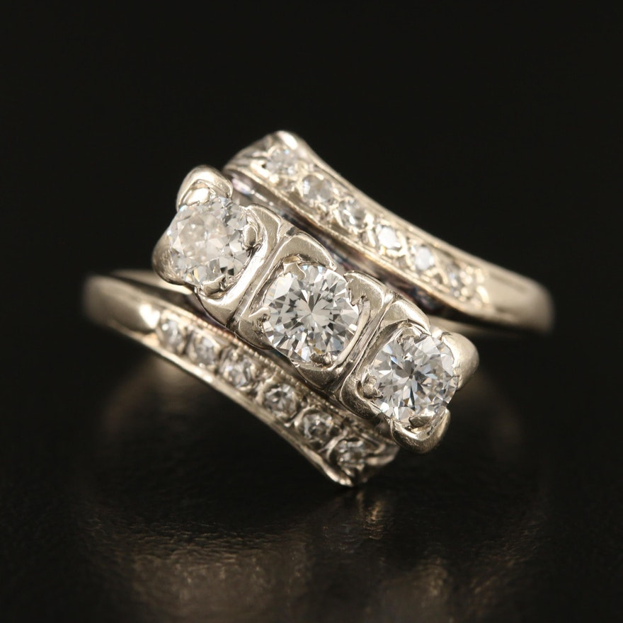 1950s14K Diamond Bypass Ring