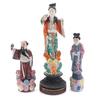 Chinese Famille Rose Ceramic Figurines