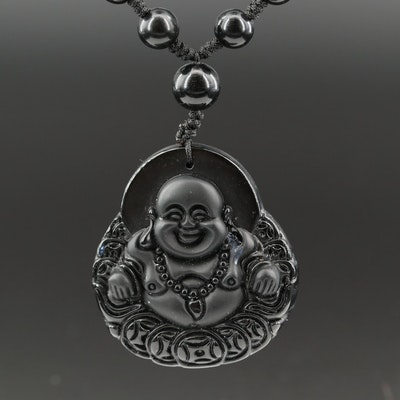 Carved Obsidian Budai Pendant Necklace