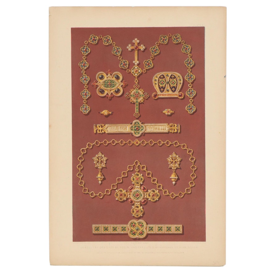 """Day & Son Lithograph """"Jewellery Designed by Pugin"""""""