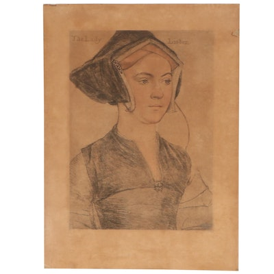"""Lithograph After Hans Holbein the Younger """"The Lady Lister"""""""
