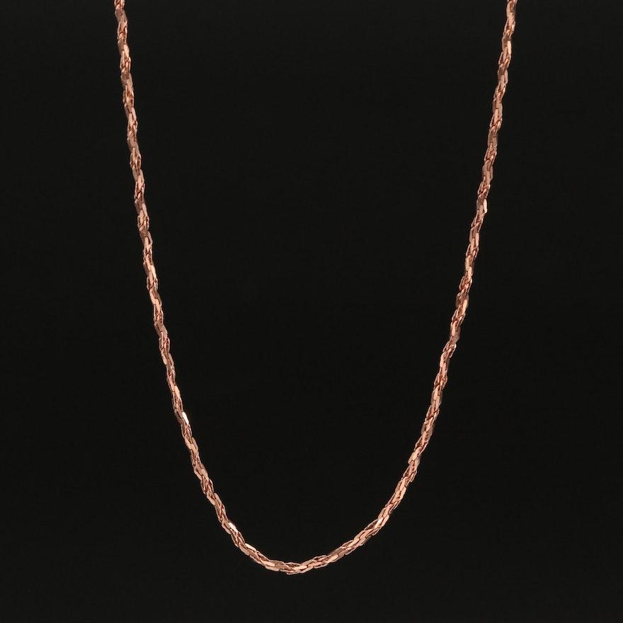 14K Rose Gold Italian Diamond Cut Singapore Chain Necklace