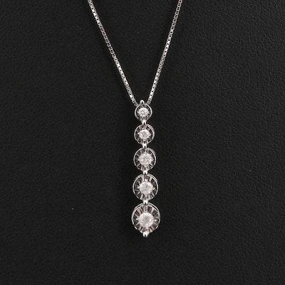 10K Graduated Diamond Pendant Necklace