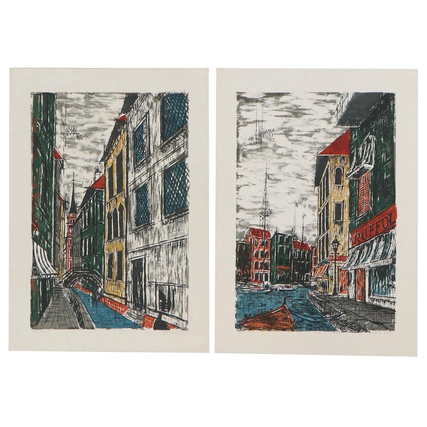 "Richard Sims Serigraphs ""Portofino"" and ""Canal Street"""