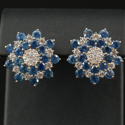 Sterling Silver Sapphire and White Zircon Earrings