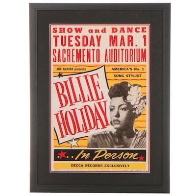 Giclée Concert Poster for Billie Holiday at Sacramento Auditorium, 21st Century