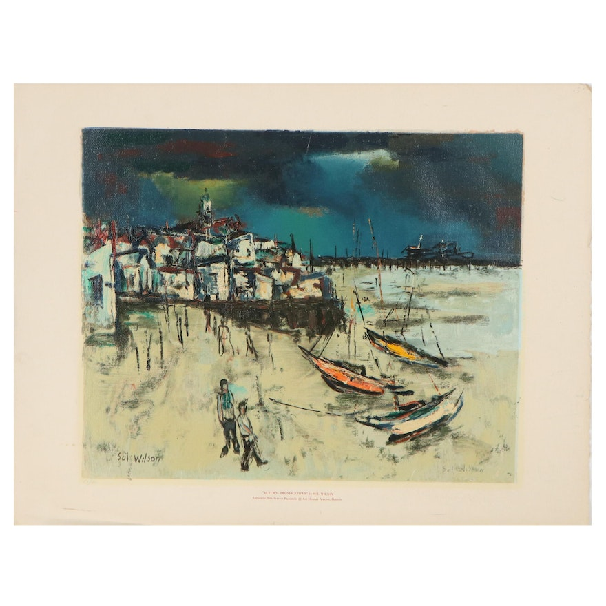 """Nautical Serigraph after Sol Wilson """"Autumn Provincetown"""""""