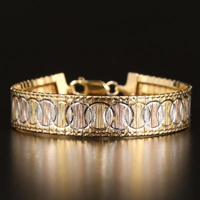 Italian Tri-Color Sterling Silver Engraved Omega Bracelet
