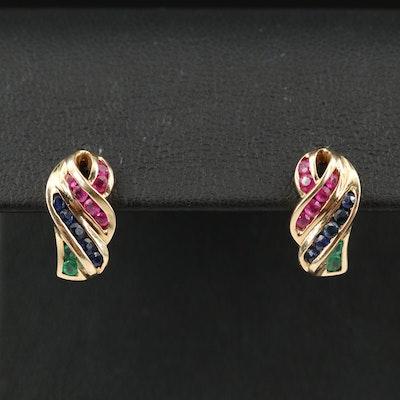 10K Ruby, Emerald and Sapphire Earrings