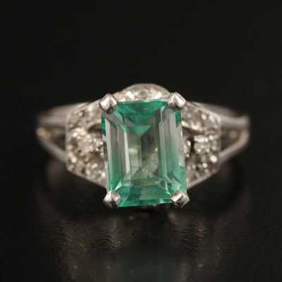 10K Beryl and Diamond Ring with Openwork Detail