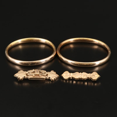 Early 1900s Art Nouveau Foster & Bailey Bangles with Victorian Bar Pins