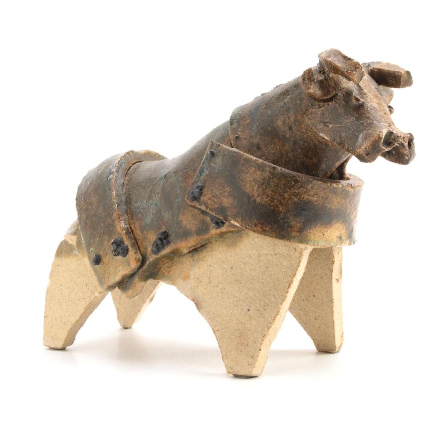 Signed Art Pottery Bull