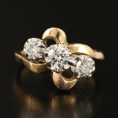 Vintage 14K Diamond Bypass Ring